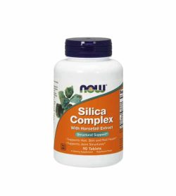 White and orange bottle with purple cap of NOW Silica Complex With Horsetail Extract for Structural Support 500mg 90-tabs