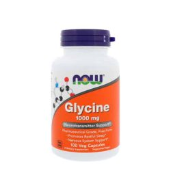 White and orange bottle with purple cap of NOW Sports Glycine 1000 mg Neurotransmitter Support 100 Caps