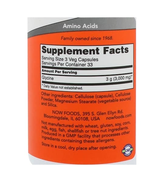 Supplement facts and ingredients panel of NOW Sports Glycine 1000 mg 100 Caps