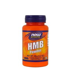 Orange bottle with purple cap of NOW Sports HMB Powder 90 g