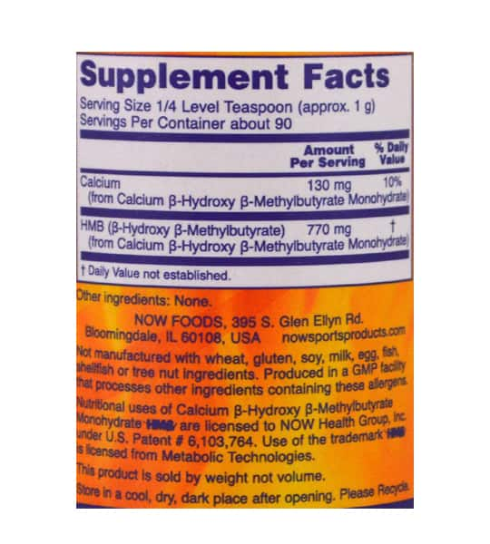 Supplement facts and ingredients panel of NOW Sports HMB 90 g