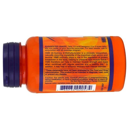 Orange bottle with pruple cap showing usage panel side of NOW Sports HMB 90 g