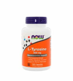 White and orange bottle with purple cap of NOW L-Tyrosine 500 mg Neurotransmitter Support contains 120 Caps