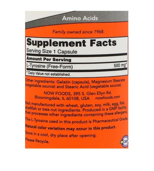 Supplement facts and ingredients panel of NOW Tyrosine 500 mg 120 Caps