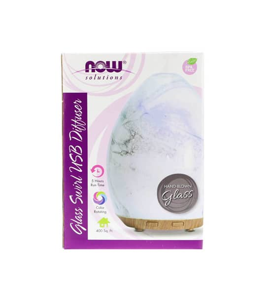 White and purple package showing front side of NOW Ultrasonic USB Glass Swirl Diffuser