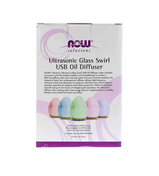 White and purple package showing back side of NOW Ultrasonic USB Glass Swirl Diffuser