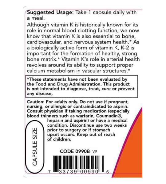 Usage and caution panel of NOW Vitamin B-1 100-Tabs