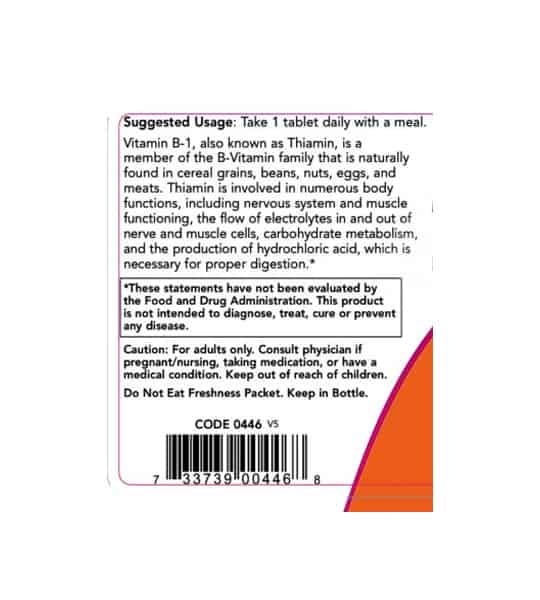 Usage and caution panel of NOW Vitamin B-1 100 Tabs
