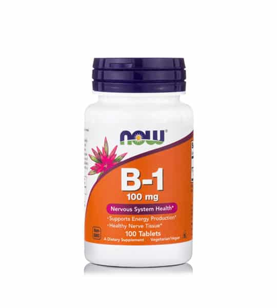 White and orange bottle with purple cap of NOW Vitamin B-1 Nervous System Health 100 Tabs