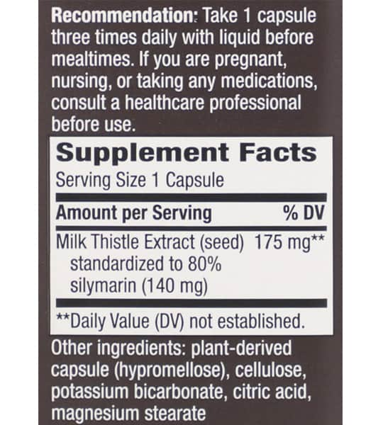 Supplement facts and ingredients panel of Natures Way Thisilyn Milk Thistle for a serving size of 1 capsule