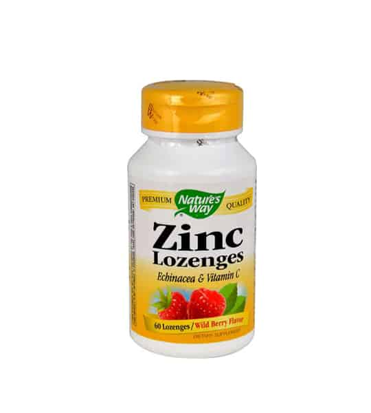 White and yellow bottle with yellow cap of Nature's Way Zinc Lozenges Echinacea & Vitamin C contains 60 lozenges