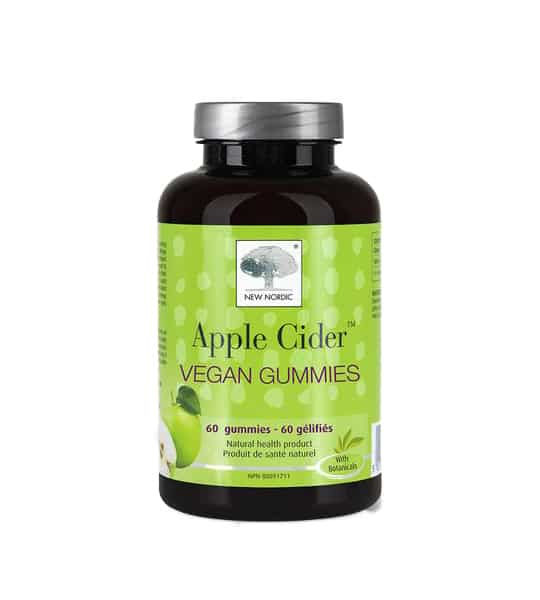 Black and green bottle with grey cap of Nordic Apple Cider Vegan Gummies contains 60 Gummies