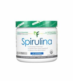 White and green container of Novaforme Spirulina 30-Servings shown in white background