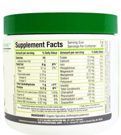 Supplement facts and ingredients panel of Novaforme Spirulina for serving size of 5g contains 30 Servings