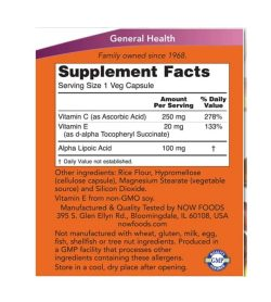 Supplement facts and ingredients panel of Now Alpha Lipoic Acid for a serving size of 1 veg capsule shown in orange label