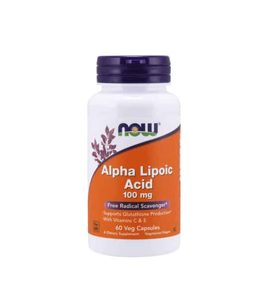 White and orange bottle with purple cap of NOW Alpha Lipoic Acid 100 mg free radical scavenger* contains 60 veg capsules