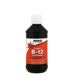 Black bottle with white and orange label of Now Liquid B-12 B-Complex Nervous System Health* contains 237 ml