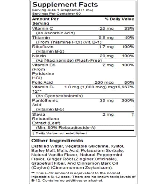 Supplement facts and ingredients panel of Now B12 Liquid complex for a serving size of 1 dropperful (1 ml) with 60 servings per container