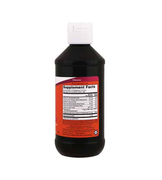 Black bottle showing orange supplement facts and ingredients label of Now B12 Liquid complex Vitamins