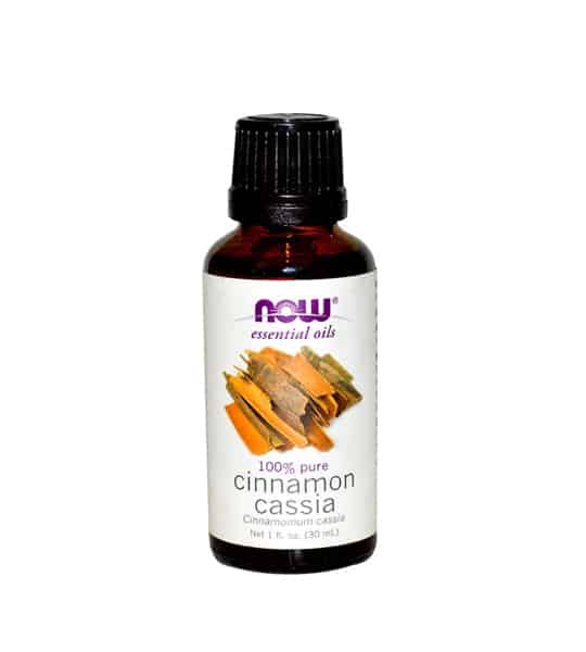 Brown and white bottle of Now essential oils 100% pure Cinnamon Cassia Oil contains 30 ml
