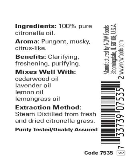 Ingredients and benefits panel of Now Citronella Oil 30 ml