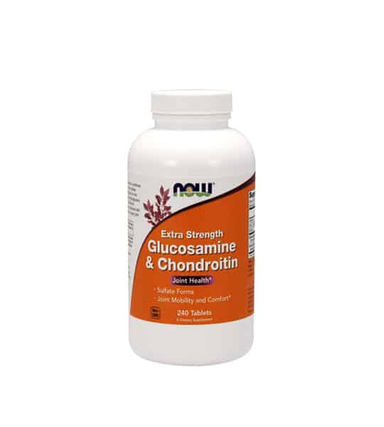 White and orange bottle of Now Extra Strength Glucosamine & Chondroitin Joint Health 240 Tablets