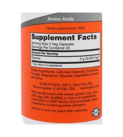 Supplement facts and ingredients panel of Now Glycine 1000mg 100 veg caps