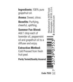 Ingredients and benefits panel of Now Grapefruit Oil 30 ml