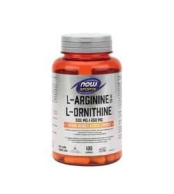 Orange and silver bottle of Now Sports L-Arginine 500mg L-Ornithine 250mg Amino Acids contains 100 capsules