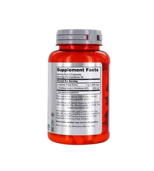 Orange bottle showing supplement facts and ingredients panel of Now L-Arginine 500mg L-Ornithine 250mg