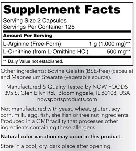 Supplement facts and ingredients panel of Now L-Arginine 500mg L-Ornithine 250mg
