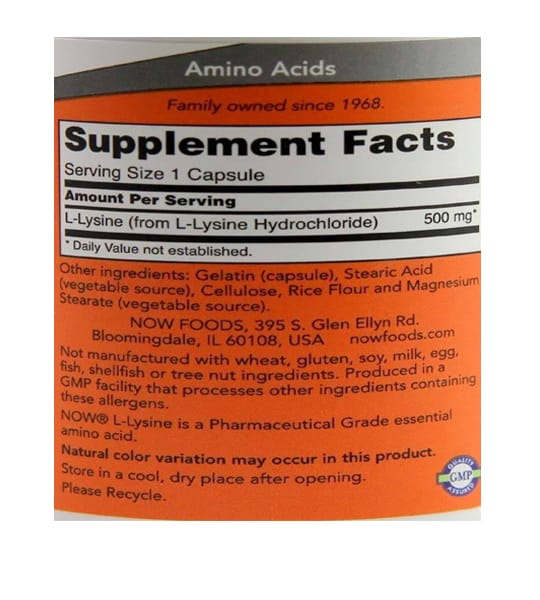 Supplement facts and ingredients panel of Now L-Lysine 500 mg 100 caps