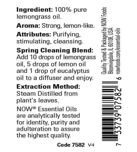 Ingredients panel of Now Lemongrass Oil 30 ml