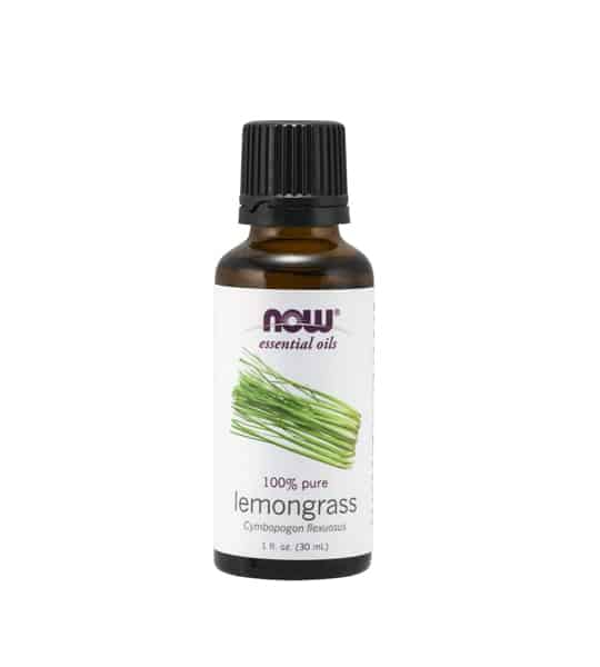 Brown and white bottle of Now essential oils 100% pure Lemongrass Oil 30 ml