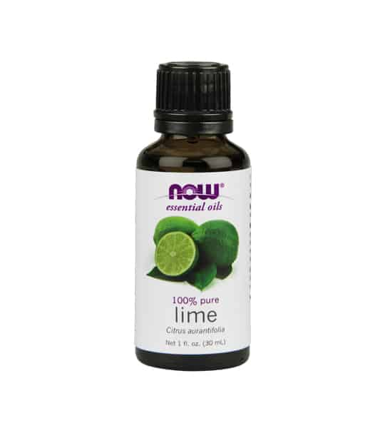 Brown and white bottle of Now essential oils 100% pure Lime Oil 30 ml