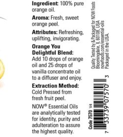 Ingredients panel of Now Orange Oil 30 ml