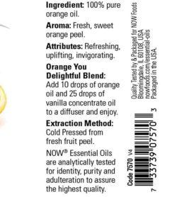 Ingredients panel of Now Orange Oil 30 ml