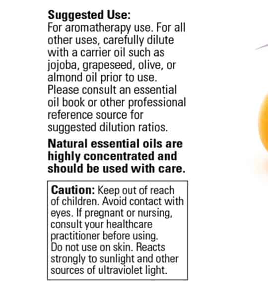 Suggested usage panel of Now Orange Oil 30 ml