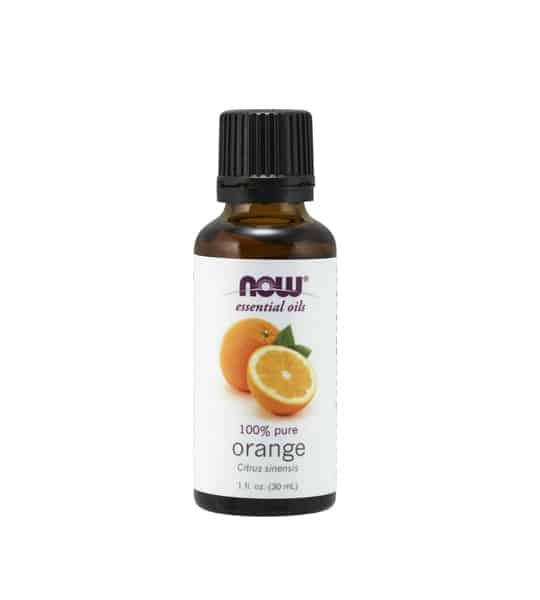 Brown and white bottle of Now essential oils 100% pure Orange Oil 30 ml