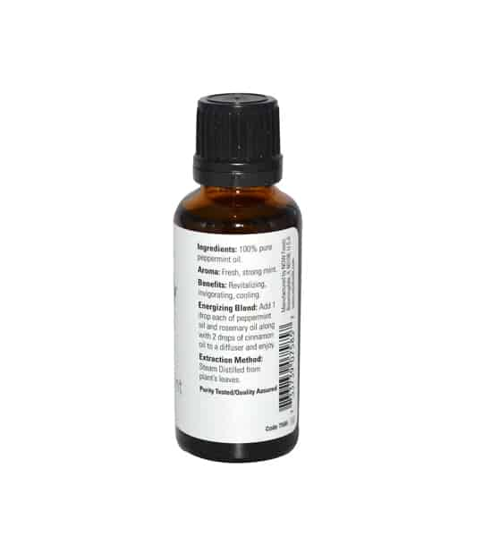 Brown and white bottle showing ingredients panel of Now Peppermint Oil 30 ml