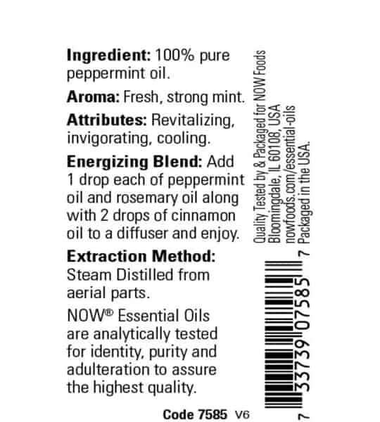 Ingredients panel of Now Peppermint Oil 30 ml