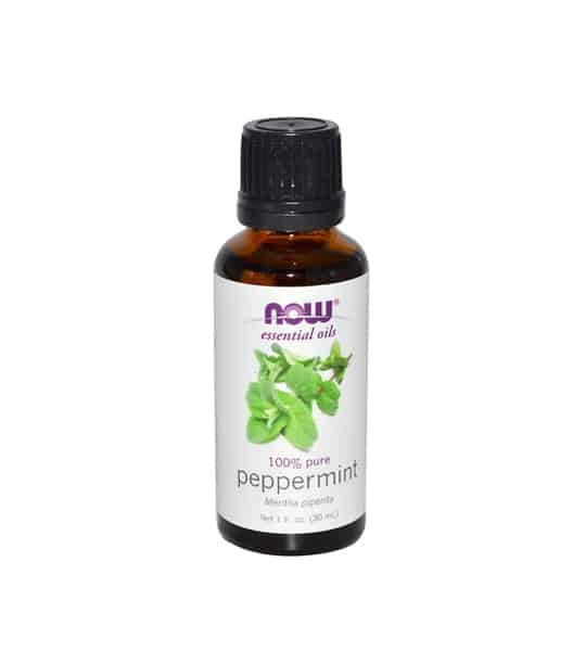 Brown and white bottle with Now essential oils 100% pure Peppermint Oil 30 ml