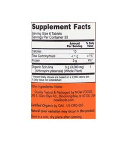 Supplement facts and ingredients panel of Now Spirulina 500 mg 200 tabs