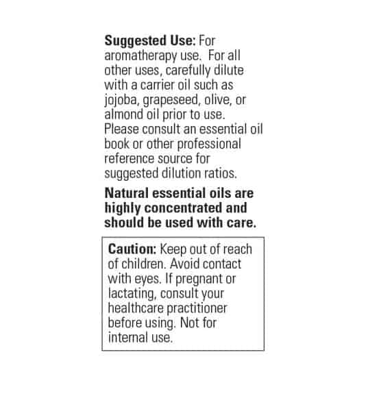 Suggested usage panel of Now Tea Tree Oil 30 ml