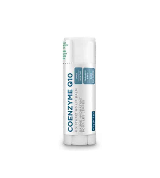 White and silver vile of Organika Coenzyme Q10 Moisturizing Lip Balm