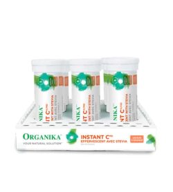 White and green box of Organika InstantC Effervescent Avec Stevia bottles