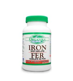 White bottle with green cap of Organika Iron HVP Chelate 45mg contains 90 tabs