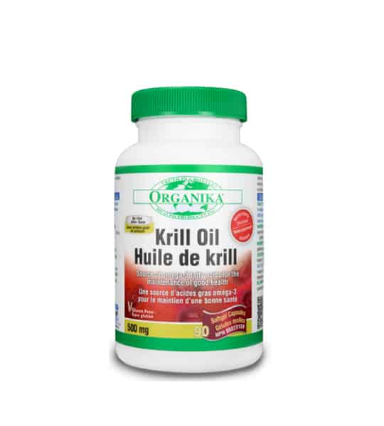 White bottle with green cap of Organika Krill Oil contains 90 Softgels shown in white background