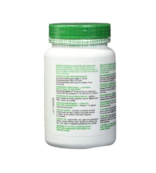 White bottle showing back side of Organika Krill Oil 90 Softgels