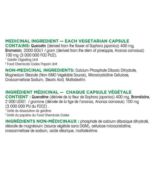 Medicinal ingredients panel of Organika Quercetin 400mg 60-Capsules
